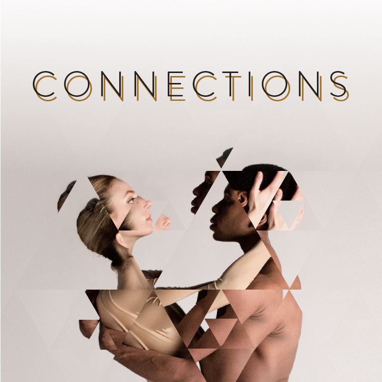 A man and a woman embrace. The word Connections appears.