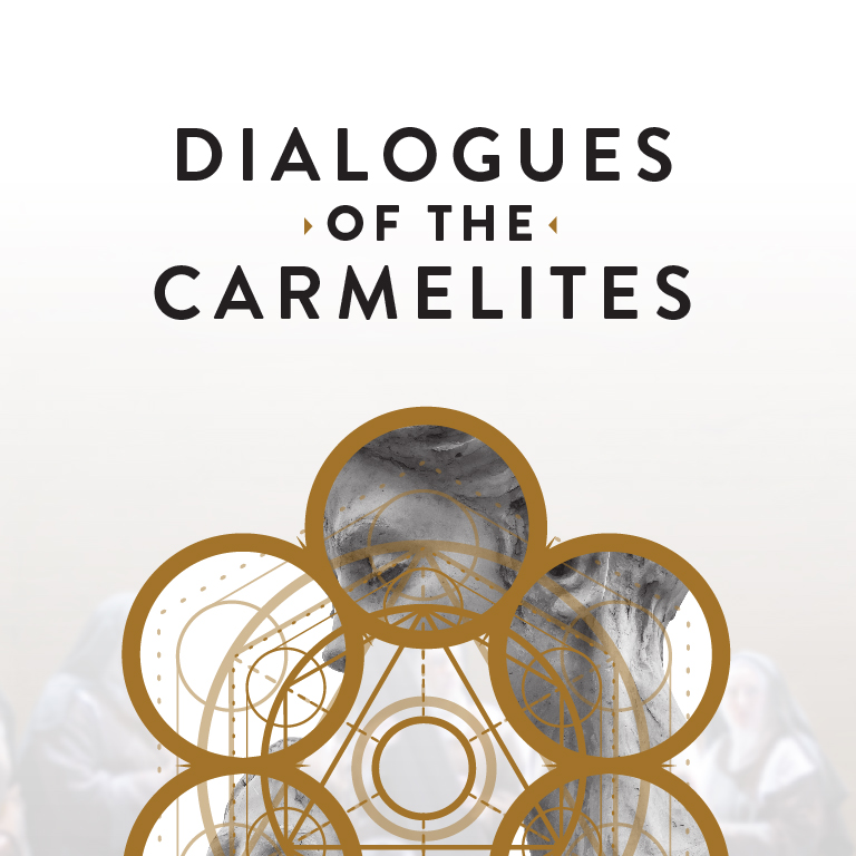 An abstract image of a woman with golden rings in the foreground. The words Dialogues of the Carmelites appear.