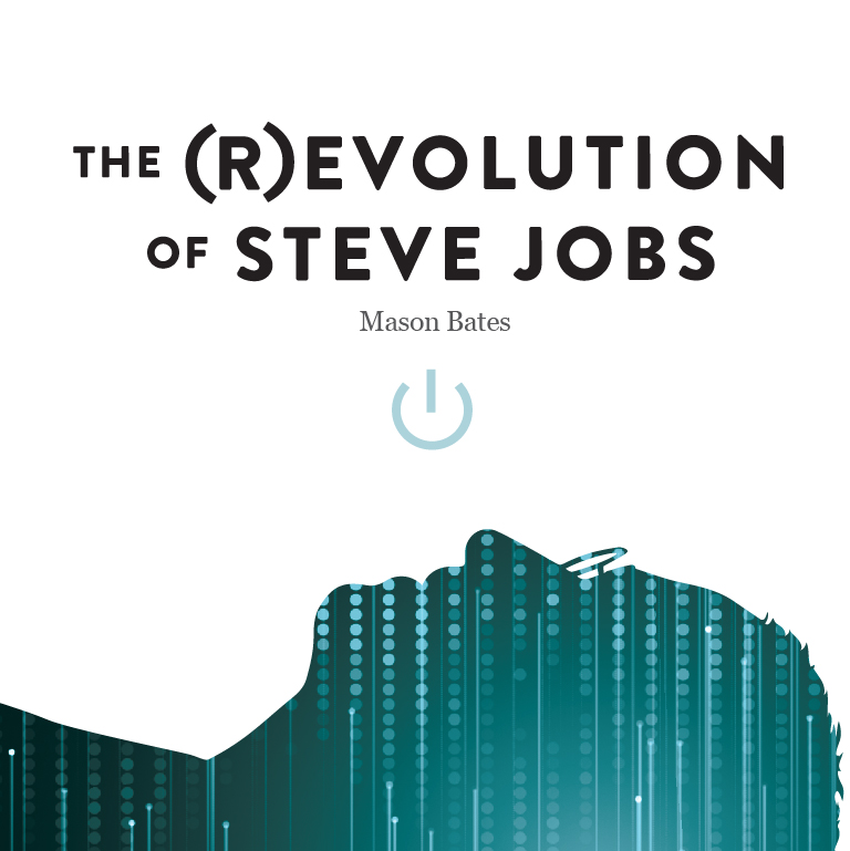 A silhouette of a man looking up. The words The (R)evolution of Steve Jobs appear.