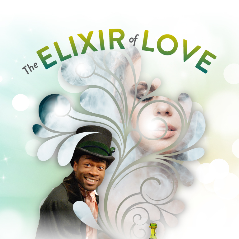 A man wearing a top hat smiles. The words Elixir of Love appear.