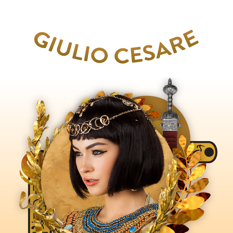 A woman wearing a crown looks to the left. The words Giolio Cesare appear.
