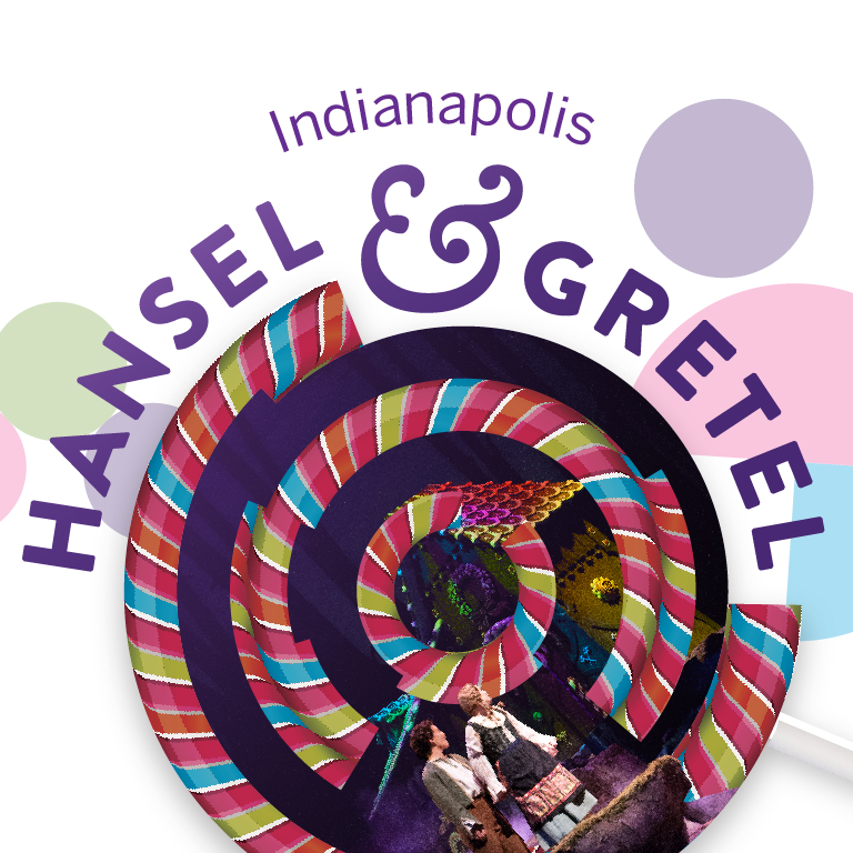 An abstract lollipop hovers over two children. The words Indianapolis Hansel and Gretel appear.
