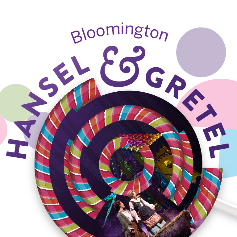 An abstract lollipop hovers over two children. The words Bloomington Hansel and Gretel appear.