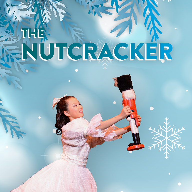 A girl in a party dress holds a nutcracker. The words The Nutcracker appear.