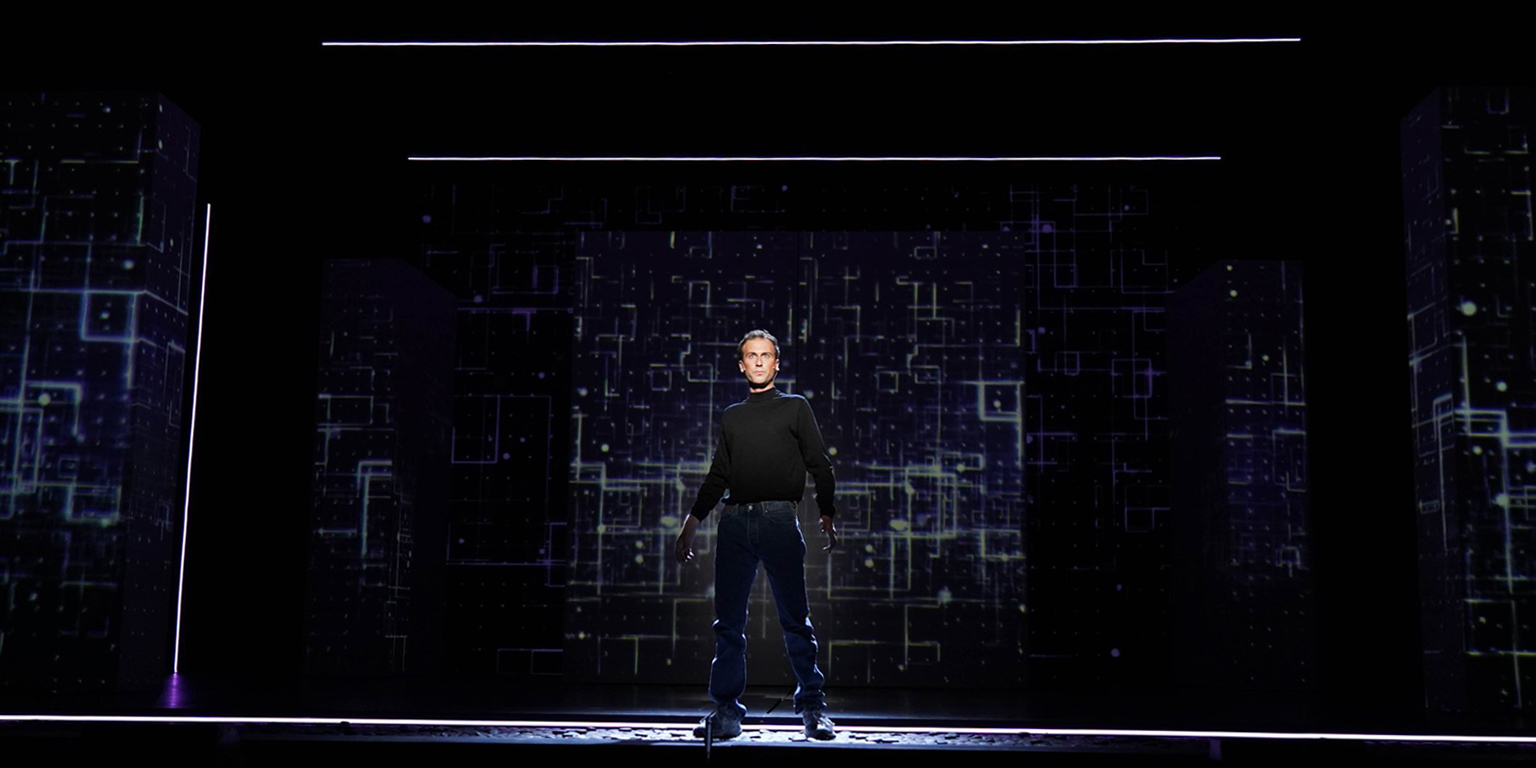 Image from The (R)evolution of Steve Jobs production in the Musical Arts Center.