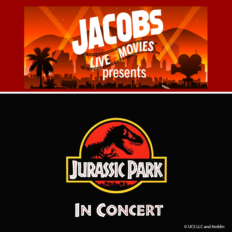 Jacobs Live at the Movies presents Jurassic Park in concert. Image of Jacobs live at the movies artwork which is a Hollywood scene, and the Jurassic Park artwork with the T-Rex skeleton in a circle behind the title.